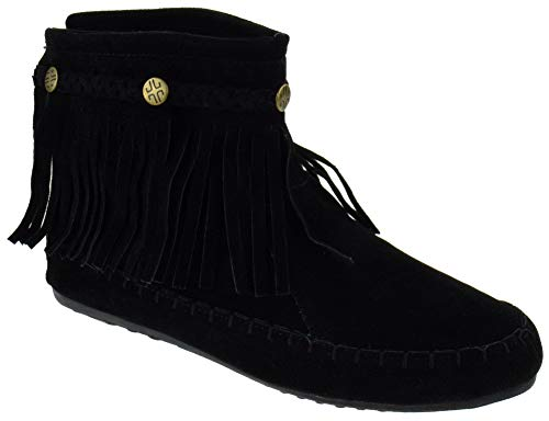 SHOEDEZIGNS Western 19 Womens Fringe Moccasin Ankle Booties Black 8