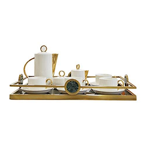 Bandeja de Joyería Cosmética Mármol Metal Bandeja de Cocina Mesa de café casa decoración Desayuno Bandeja Delicado Bandeja de Cosmética (Color : White, Size : 48x32x5.5cm)
