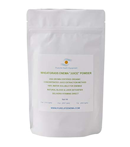 Purelife Wheatgrass Enema Juice Powder - Organic - Enema Specific - 4 Oz - Liver Detoxification- Blood Energizer - Colon Healing - Gluten Free