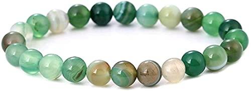 Pulsera Feng Shui Bead Pulsera de piedra Mujer, 7 chakra Polla de piedra natural Pulsera de ágata verde Elástico Lucky Bangle Yoga Fashion Charm Jewelry para Unisex Pulsera de abalorios de amuleto