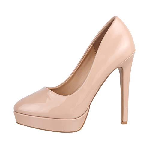 Elara Zapato de Tacón Alto Mujer Plataforma Estilete Chunkyrayan Beige C-1 Beige-38