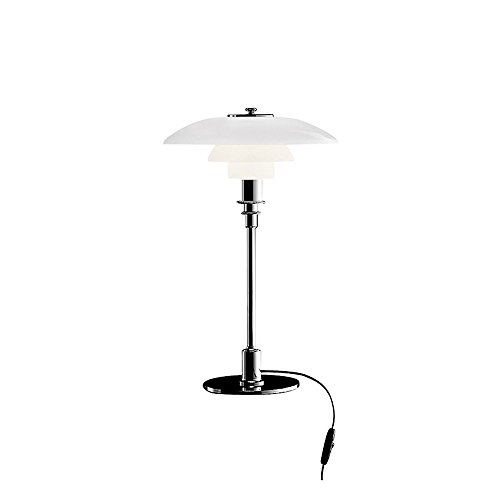Louis Poulsen PH 3/2 Tischleuchte, chrom glänzend Schirm glas