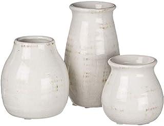 Sullivans Petite White Ceramic Vase Set, Rustic White Home Decor, Great for Centerpieces, Kitchen, Office or Living Room (CM2583)