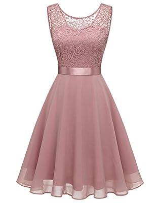 BeryLove Women's Short Floral Lace Bridesmaid Dress A-line Swing Party DressBLP7005BlushM