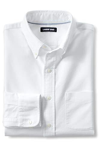 Lands' End Herren Heritage Oxfordhemd im Classic Fit 44-46 Weiß
