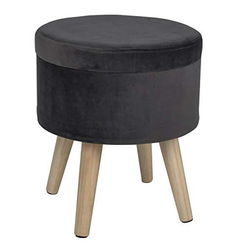 WOLTU Sitzhocker mit Stauraum Fußhocker Aufbewahrungsbox, Deckel Abnehmbar, Gepolsterte Sitzfläche aus Samt, Massivholz, Grau, sh27gr