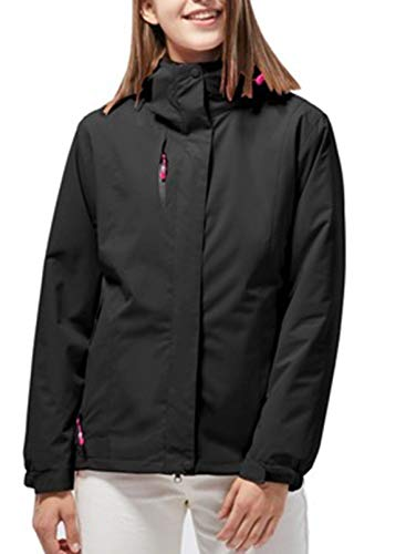 LOSRLY Damen Wasserdichte 3-in-1 Winterjacke Warm Fleece Kapuze Snowboard Mountain Snow Coat Parka Jacke Damen Gr. 50, Schwarz
