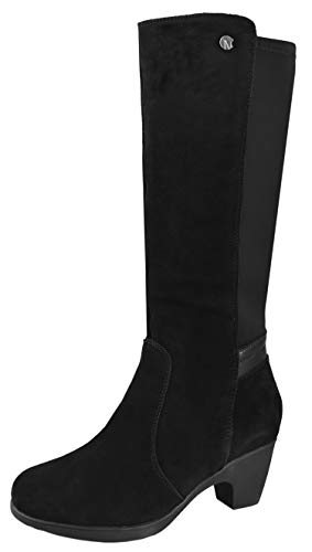 Comfy Moda Dressy Snow Boots for Women, Warm Winter Boots Tall Suede Leather Black 10(M) US Zoe