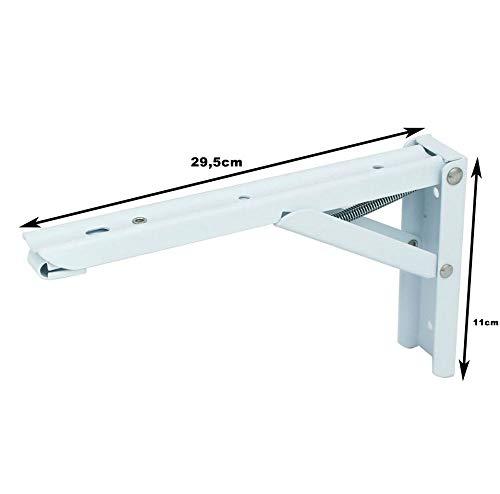 2x Stabile Klappscharniere Regalwinkel Klappwinkel - Edelstahl Winkel klappbar mit hoher Belastbarkeit in verschiedenen Größen (29,5 x 11 x 1 cm, Weiß)