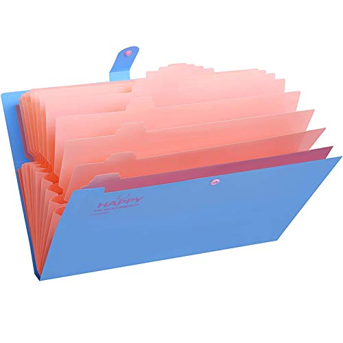 Skydue Expanding File Folders 12 Pockets Accordion File Folder A4 and Letter Size Paper Document Organizer Folders for School Office (Blue)