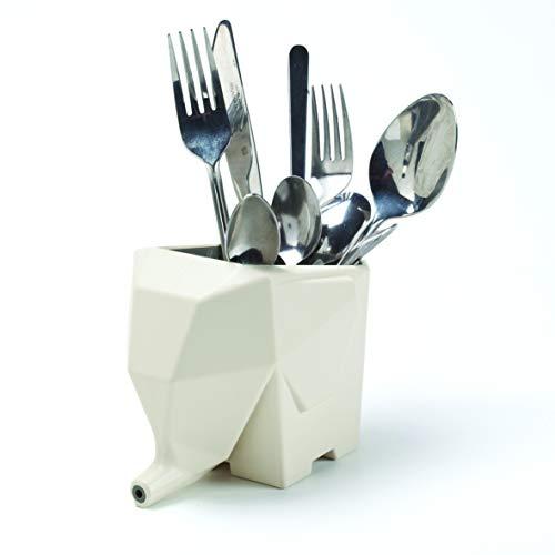 PELEG DESIGN Cutlery Holder Jumbo Cute and Funny Plastic Elephant Sink Cutlery Organizer Drainer Storage Box and Toothbrush Holder