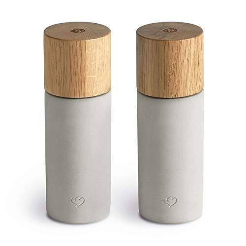 Salz & Pfeffermühle 2er Set aus Eichenholz & Beton, Gewürzmühle, Chilimühle, Verstellbares Keramikmahlwerk, Unbefüllt, Skandinavisches Design, Grau
