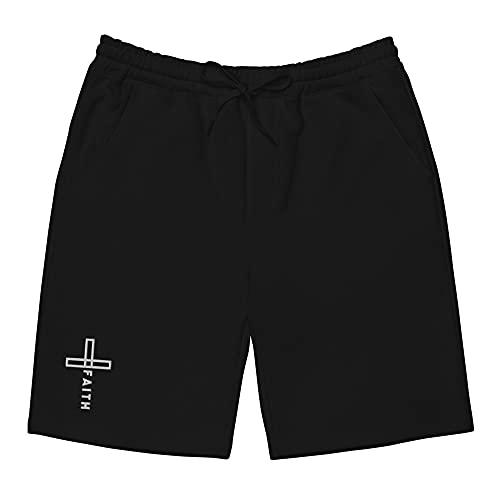 Embroidered Cross Faith Shorts Fleece Shorts Black