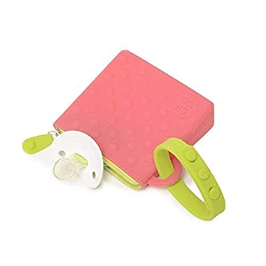 CB Go Small Silicone Pouch. On-The-Go for Stroller and Diaper Bag Organizer for Pacifiers, Keys, Credit Cards & More, Pink