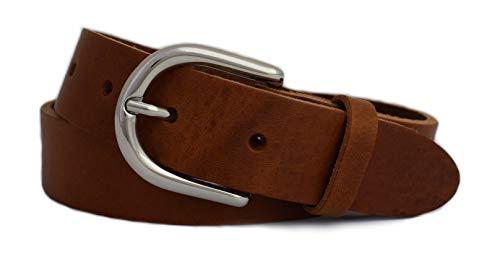 GREEN YARD Ledergürtel schmal Gürtel aus 100% weichem Leder für Damen & Herren Damengürtel 3cm breit,Cognac,75 cm Bundweite = 90 cm Gesamtlänge