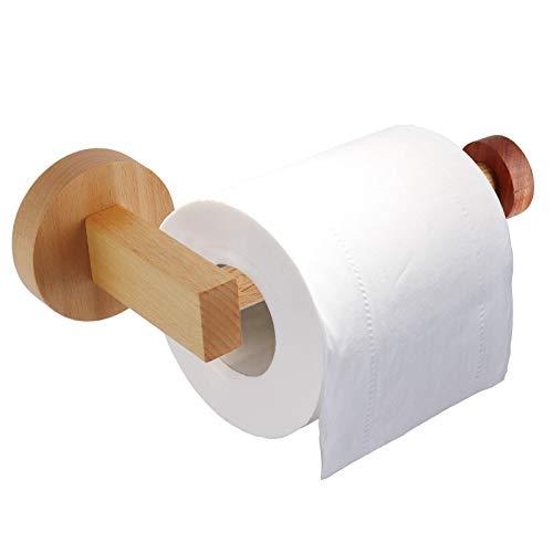HONZUEN Porta Rollo de Papel Higienico Madera, Portarrollos para Papel Higiénico Adhesivo,...