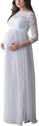 Vestito Premaman Donna Maxi Abito Lungo di maternità a Maniche Lunghe con Pizzo Vestito per Allattamento Fotografia Cerimonia Elegante (Bianco B, S)