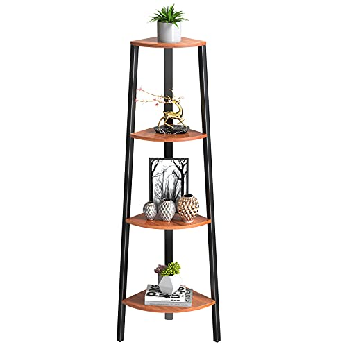 Corner Shelf 4 Tier Ladder Bookshelf Standing Plant Stand Rustic Display Storage Shelves for Bedroom, Living Room, Office, Kitchen by FURNINXS