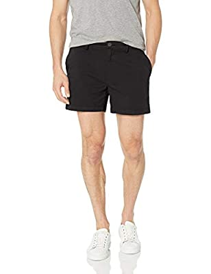 "Goodthreads Men's 5"" Inseam Flat-Front Stretch Chino Shorts, -black, 33"