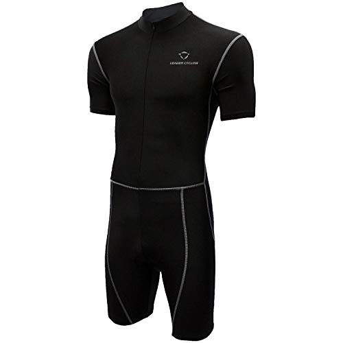 LEADER CYCLING Men's Triathlon Suit with Sleeves Compression Running Swimming Cycling Breathable Quick-Drying Tri Suit (Black, X-Large)