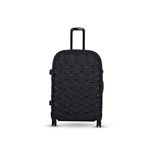Orci Travel Suitcase Pyramid Travel Trolley Hard Shell Suitcase Hand Luggage ABS Quiet Spin Wheels M-L-XL Set (Black, XL)