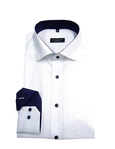 eterna Herren Langarmhemd Business-Hemd Comfort Fit Kent-Kragen unifarben mit schmalen Patch-Streifen (weiß 01, 45)