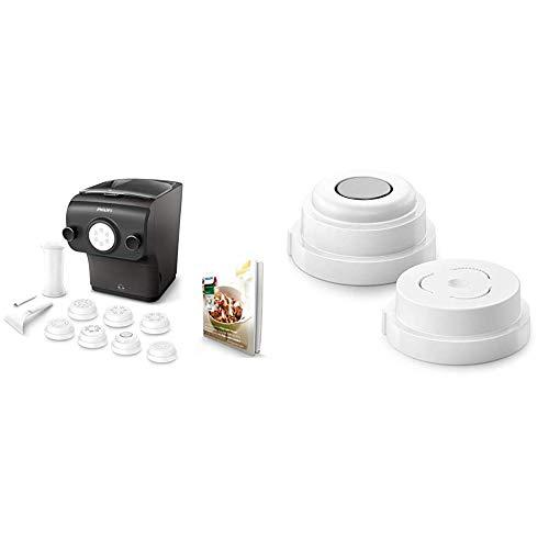 Philips Avance HR2382/15 Macchina per Preparare Pasta Fresca con Bilancia Integrata, Programmi Automatici, 200 W, Nero & HR2490/10 Kit per Paccheri e Conchiglie