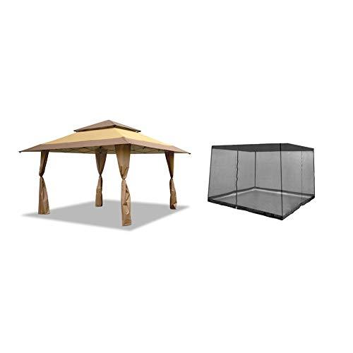 Z-Shade 13 x 13 Foot Instant Gazebo Canopy Outdoor Shelter & Gazebo Bug Screen, Tan Brown