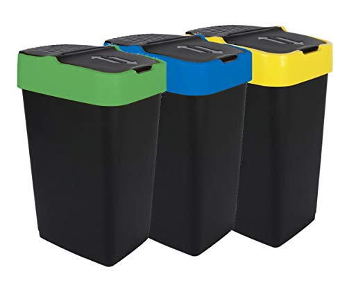 Abfalleimer mit Schwingdeckel - 3er Set - 60 L - Mülleimer Abfallbehälter Abfallsammler