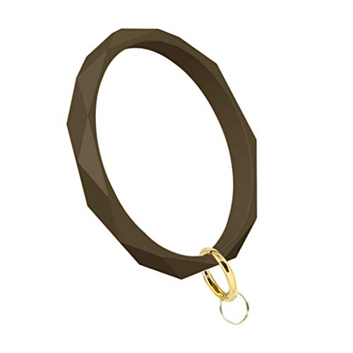 IPOTCH Karierte Silikonarmband für Damen/Herren, Motivationsarmband Sportarmband Fitness Accessoire, 75mm Durchmesser - Brown