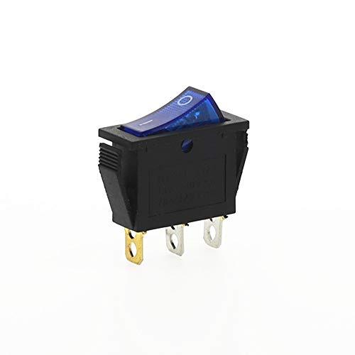 CROSYO Interruptor 1Pcs KCD3 Rocker ON-Off 2 Posición Equipo 3 Pin eléctrica con el Interruptor de luz 16A 250VAC / 20A 125VAC (Color : Blue)