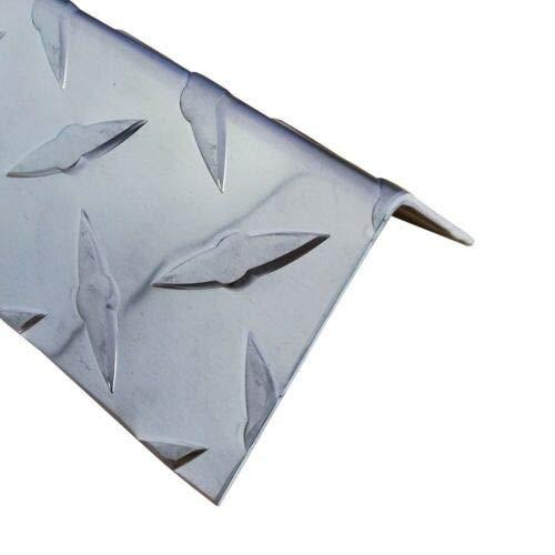 Alu-Winkel, 1500mm Aluwinkel 100x20 mm Schenkelinnenmaß aus Alu Riffelblech Diamant 1,5/2,0 mm stark L Schiene,Winkelprofil,