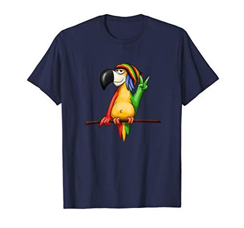 Chilliger Reggae Papagei | Cooler Comic Rastafari Vogel T-Shirt
