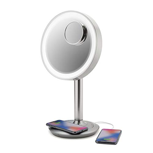 "iHome 9"" LUX Power Bluetooth Makeup Vanity Mirror with Wireless Charging and USB Charging, Bluetooth Audio, 10X Removable Magnification Mirror, Tilting Any Angle, Full Spectrum Lighting"