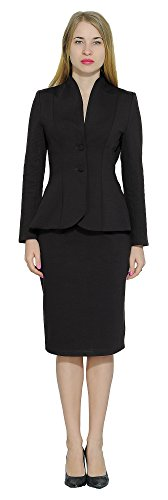 Marycrafts Women's Formal Office Business Work Jacket Skirt Suit Set 10 Black
