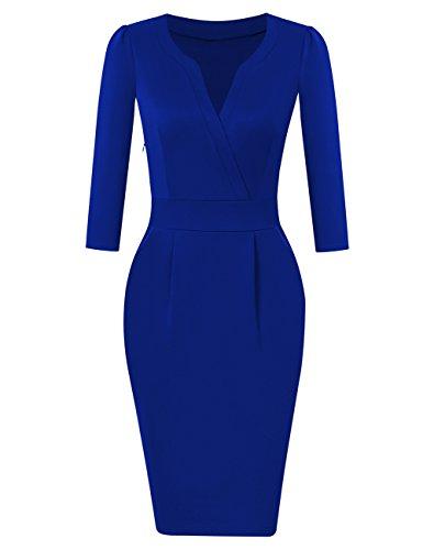 KOJOOIN Damen Elegant Etuikleider Knielang Langarm Business Kleider Empire Blau S