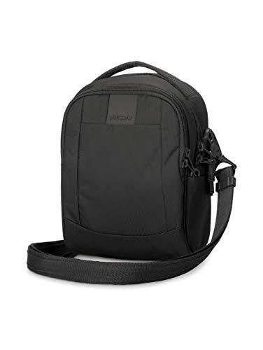 Pacsafe Metrosafe LS100 Anti-Diebstahl kleine Nylon Umhängetasche für Damen, Schultertasche mit Diebstahlschutz, Tasche mit Sicherheits-Features - 3 L Uni, Schwarz / Black