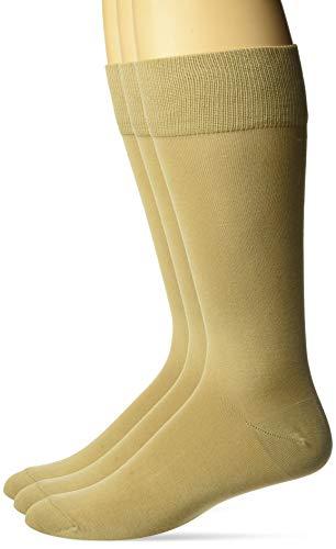Amazon Brand - Buttoned Down Men's 3-Pack Pima Cotton Dress Socks, Camel, Shoe Size: 8-12