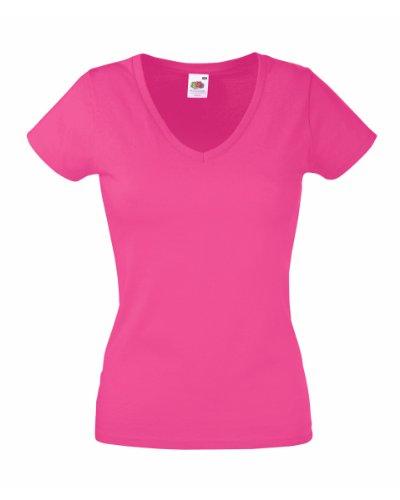 Camiseta Fruit of the Loom SS047, con cuello en V, ajustada, para mujer Rosa fucsia X-Large