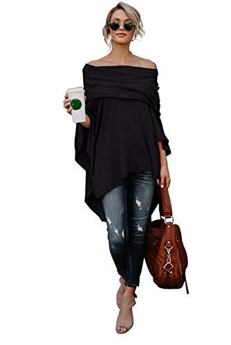 Poncho Tricot Femme Mode Pull Epaule Denudee Grande Taille Sweater Chandail Ample Tunique Automne Hiver Haut Asymetrique Chemise Irrégulière Blouse Manche Chauve Souris Manteau Cape Veste Outwear Top