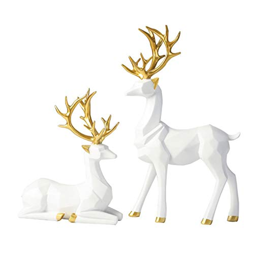 Bliweek Nordic Style Origami Elk,Resin Sitting Standing Deer Statues, Reindeer Figurines,Ornaments Living Room TV Cabinet Wine Cabinet Gifts for Home Decoration(One Pair) (White)
