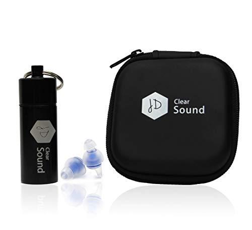 JD Clear Sound Ohrstöpsel Gehörschutz zum Arbeitsschutz, Reisen, Schlafen, Festival, Lärm dämpfend, hoher Tragekomfort mit praktischem Zipperbag