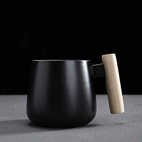 Simple Couple Water Cup Ceramic Cup with Wooden Handle A Pair of Coffee Cup Mug with Lid Spoon B