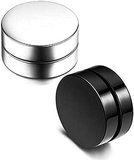حلق مرصع مصنوع من مادة التيتانوم بتصميم دائري ومغناطيسي وبدون مشبك على الاذن للنساء والرجال بلون اسود