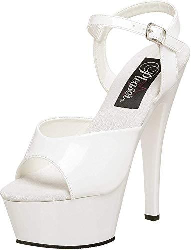 Pleaser Damen KISS-209 Plateau High Heels Sandalette Lack Weiß 38 EU