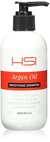 HSI PROFESSIONAL #1 SMOOTHING SHAMPOO WITH ARGAN OIL AND INFUSED WITH VITAMINS A,B,C & D. CREATES SILKY, SMOOTH AND HEALTHY HAIR. SULFATE FREE. MADE IN USA. (8oz) by HSI PROFESSIONAL