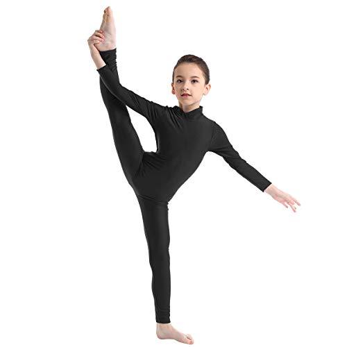Freebily Body Ginnastica Artistica Bambina Maniche Lunghe Ballerina Vestito Danza Classica Balletto Tuta Sportiva Invernale Jumpsuit Pagliaccetto Tutine Dancewear Nero 7-8 Anni