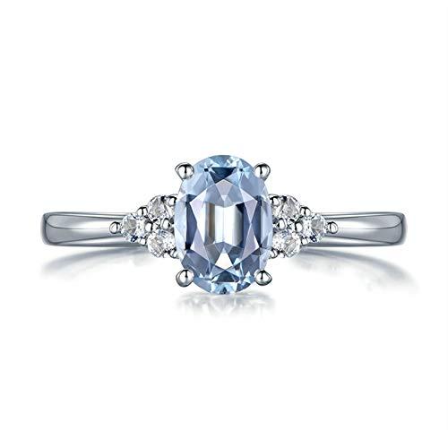 AueDsa Anillo Mujer Plata Azul Anillos de Compromiso Mujer Oro 18K Oval con Aguamarina Azul 0.72ct y Diamante 0.08ct Talla 21