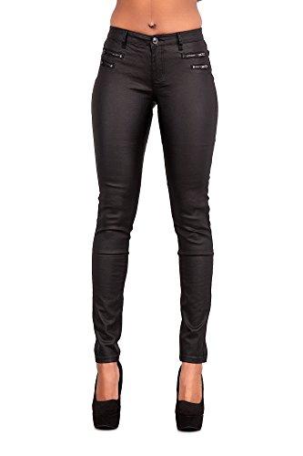 Glook Mujeres Cuero Enjutos Leggins Treggins Cintura Alta Skinny Elásticos Lápiz Jeggings Leggings Cadera De Pantalones (Negro con Cremallera, 46)