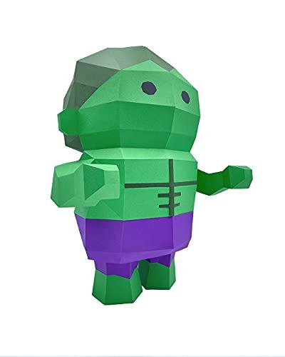 Oh Glam Home Kit DIY Héroe Verde Papercraft Kit Cartón 3D Escultura Origami 3D Puzzle 3D Decoración niños PRECORTADO